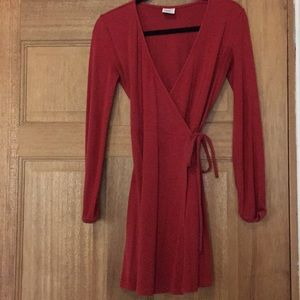 Red wrap around dress from Aritzia